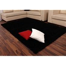 Alfombra De Pelo Alto Y Largo Shaggy En Negro Liso Al Mejor Precio Nueva*, tamaño:60x100 cm