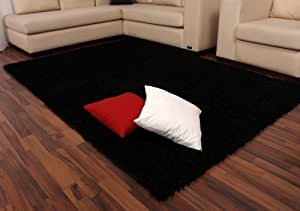 Shaggy Schwarz Hochflor Langflor Teppich UNI Black TOP PREIS NEU*, Grösse:60x110 cm
