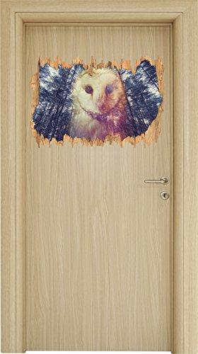 Portrait einer Eule als Zeichen des Waldes Kunst Buntstift Effekt Holzdurchbruch im 3D-Look , Wand- oder Türaufkleber Format: 62x42cm, Wandsticker, Wandtattoo, (Hexe Draußen Halloween Für Dekorationen)