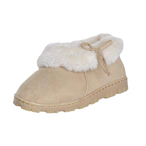 womens-beige-neutral-bootie-slippers-plush-faux-fur-trim-hard-sole-uk-size-4