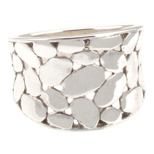 Sterling Silver Wide Band Concave Ring with Mosaic Like Pattern - Q