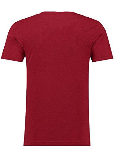 Black Rock Herren T-Shirt - 2er 3er 4er 5er Pack - V-Ausschnitt - Slim-Fit/Figurbetont - Oversize - Meliert - Kurzarm Vintage Shirt Dunkelrot 5er
