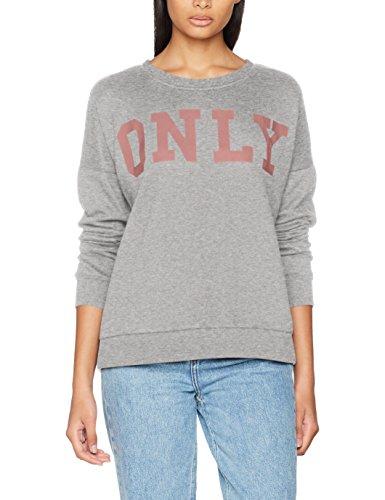 ONLY Damen onlBETTE Logo LS SWT Sweatshirt, Grau (Light Grey Melange Print:Withered Rose), 38 (Herstellergröße: M) Rose Print Jacke