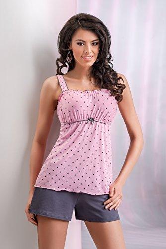 c78871620d9a39 ... DONNA wunderschönes und hochwertiges Nachtwäsche-Set aus niedlichem  Viskose-Hemdchen und koketten Shorts rosa ...