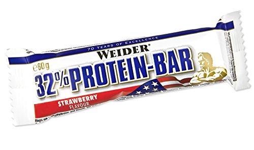 Weider 32{4d7ab8e547569544d60402ae2ac1ca29927cf39dd2e494cc48f36703b93ab29b} Protein Bar, Fresa - 24 Barras