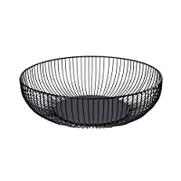 LAMEIDA Fruit Bowls Storage Basket Modern Style Metal Iron Fruit Basket Large Black 28cm*7.5cm*15.5cm
