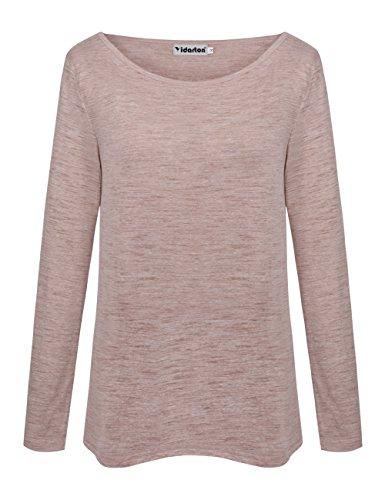 Yidarton Damen Langarm T-Shirt Rundhals Ausschnitt Lose Bluse Hemd Pullover  Oversize Sweatshirt Oberteil Tops 651dde93e0