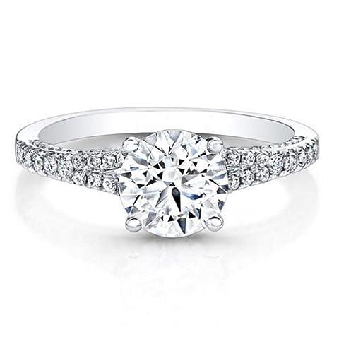 0.86 Ct Diamond Engagement Rings Solid 14k White Gold Wedding Cushion Cut Cut All Size L M N O P
