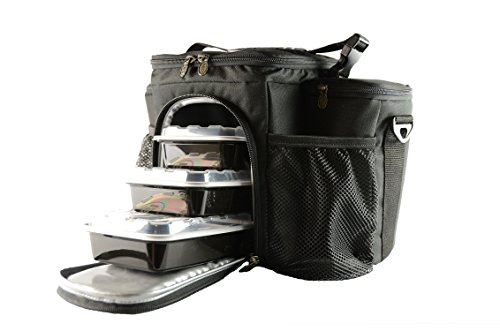 Isolator Fitness Isobag 3 Mahlzeiten Management System/Blackout Edition Isolierte Mahlzeiten-Kühltasche