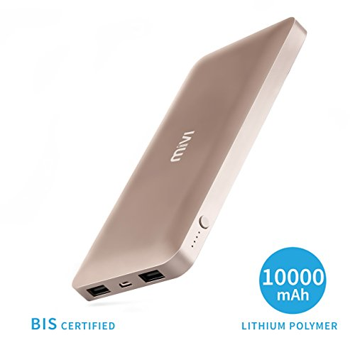 Mivi 10000mah Metallic Power Bank With Slim Original Lithium Polymer Battery Pack For iPhone, mi, Lenovo, Samsung, Xiaomi Redmi Note 4/3, MI Max/ Mi A1/MI 5, all mobiles, Tablets & More (Champagne)