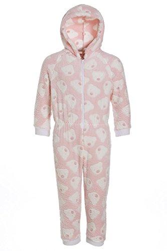 Camille - pigiama intero bambino in morbido pile con cappuccio e motivo con orsi - rosa 15/16 years