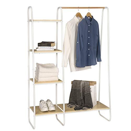 EUGAD Kleiderständer Garderobenständer Wäschständer mit Kleiderstange mit Schuhregal Garderobe Ständer Hängeregal Metall und Holz ca.102x40x150 cm