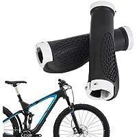 Mangos ergonómicos Antideslizantes duraderos para Bicicleta Mangos de Goma Bicicleta de montaña Barra de Manillar Barra de Bloqueo Fin de Manillar (Color: Blanco y Negro)