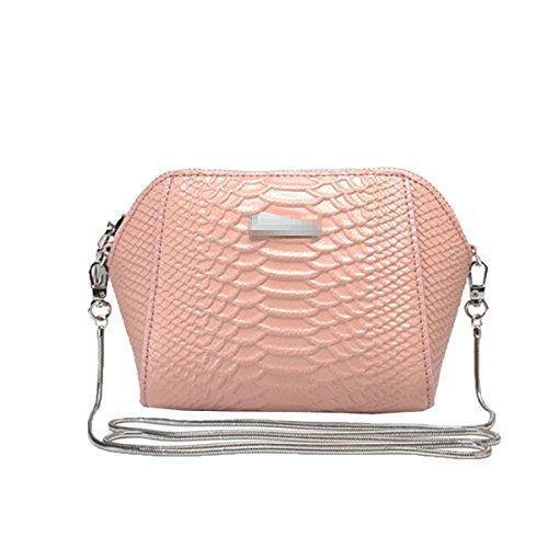 Donne Fsahion Mini Coccodrillo Pu Cuoio Crossbody Borsa Satchel Multicolor Pink