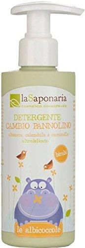 LA SAPONARIA - Bio Detergente Cambio Pannolino - Formula delicatissima - Senza profumo o allergeni - Con olio di oliva - pH 5,4 - 5,5 -100% Vegan – 200ml