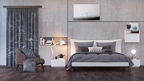 AG Design Flora schwarz, Vorhänge für Wohnzimmer, Küche, Schlafzimmer, 140 x 245 cm