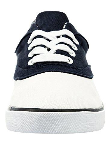 oodji Ultra Uomo Sneakers di Tela in Cotone con Finiture a Contrasto Blu (7910B)