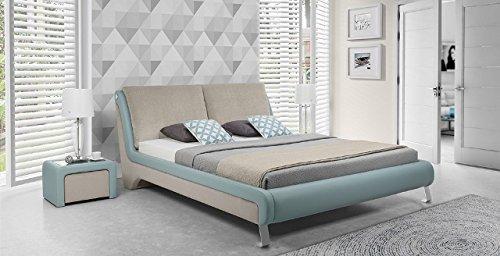 Design Luxus Lounge Polsterbett Doppelbett Futon-Bett Leder Beige SL33 NEU!