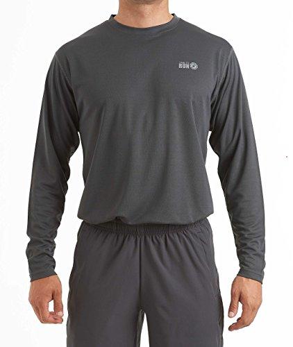 time to run Favourite Laufen-Jogging-Shirt mit Langen Ärmeln, Oberteil für Herren L Kohlenstoffgrau