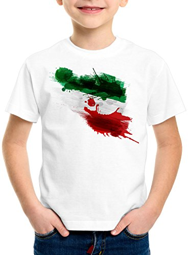 CottonCloud Flagge Iran Kinder T-Shirt Fußball Sport Teheran WM EM Fahne, Farbe:Weiß, Größe:140