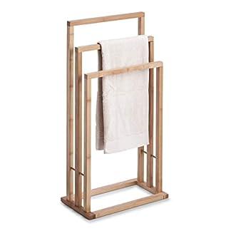 Zeller 13575 – Toallero de pie con Triple Barra (bambú, 42 x 24 x 81,5 cm)