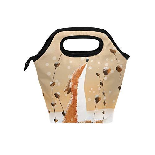 Vipsa Lunchtasche Füchse im Schnee Lunchbox Wasserdicht Outdoor Reise Picknick Tragetasche Lunch Handtaschen Tragetasche mit Reißverschluss für Männer Frauen Student