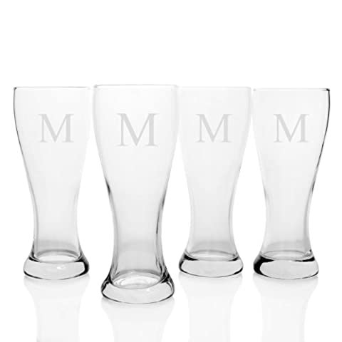 Cathy's Concepts Personalized Pilsner Glasses, Set of 4, Letter M