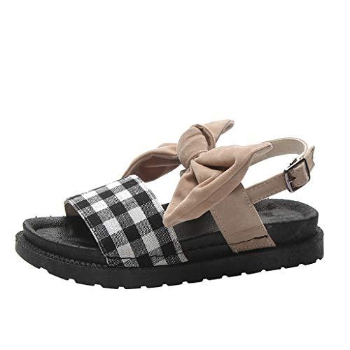 (ODRD Sandalen Shoes Lässige Freizeit Womens Flats Knöchelriemen Damen Keil Sandalen Bow Flatform Sliders Schuhe Schuhe Strandschuhe Freizeitschuhe Turnschuhe Hausschuhe)