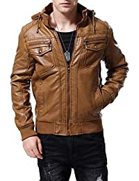 Brinny Herren Winterjacke Kunstleder Lederjacke Parka Kapuze Mantel mit  Fell warme Mens Jacket gefüttert übergangsjacke für ee0c704134