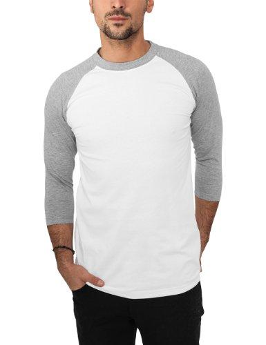 Urban Classics TB366 Herren 3/4 Sleeve Bekleidung T-Shirt mehrfarbig (Wht/gry) X-Large (Xl-t-shirt Wht)
