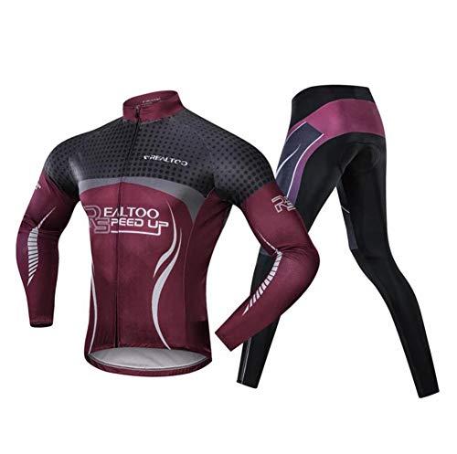AQWWHY Fahrradbekleidung Sets Anzug Männer Full Zip Langarm Radtrikot Jacke Straße Mountainbike Sportbekleidung Laufkleidung Atmungsaktive Hosen