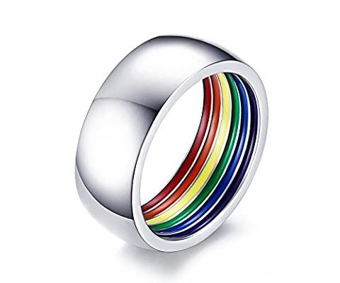Vnox Gay Lesbian LGBT en acier inoxydable Dome Shape Rainbow Pride Mariage Bague,FR taille 54