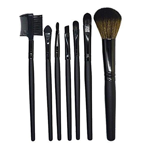 samLIKE 7 Stück Holz Make up Pinsel EyeShadow Pinsel Kosmetik Blending Pinsel Tool (Schwarz)