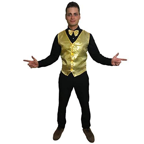 sowest Gold Pailletten Weste & Fliege Showbiz Showbusiness Herren - Gold Weste Kostüm