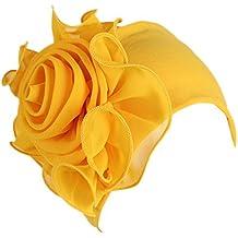 DEELIN Mujeres Color Sólido Retro Grandes Flores Sombrero Turbante Brim Hat  Cap Pile Cap SeñOras Turbante f3ab6a2c35e