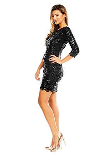 Fashion -  Vestito  - Sera  - Maniche lunghe  - Donna rückenfrei schwarz