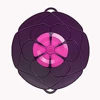 Kochblume L 29 cm Silikon lila Überkochschutz für Töpfe und Pfannen   Überkochstopp und Spritzschutz für Topfgrößen von Ø 14 bis 24 cm   Set mit Microfasertuch!
