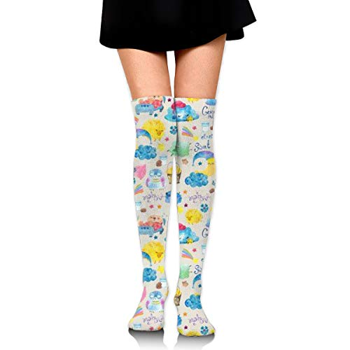 High Elasticity Girl Cotton Knee High Socks Uniform Cartoon Car And Tree Women Tube Socks