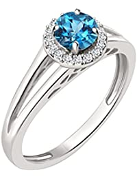 Silvernshine 7mm Blue Topaz & Sim Diamond Halo Engagement Ring In 14K White Gold Plated