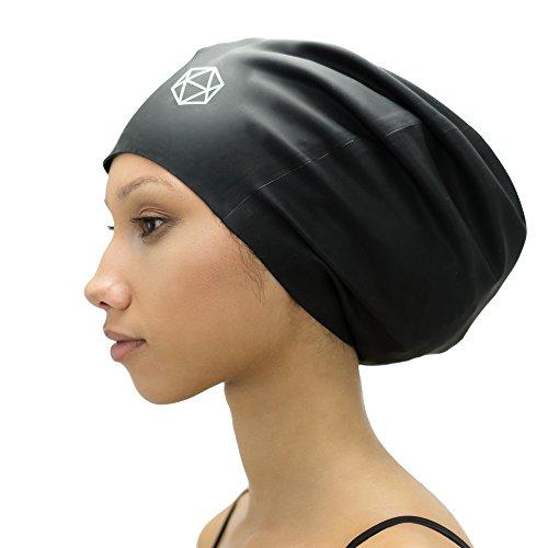 SOUL CAP XL – extra große Badekappe / Schwimmkappe / Bademütze / Duschhaube | für langes Haar, Dreadlocks, Weaves, Extensions, Rastazöpfe, Locken & Afrohaare | für Frauen und Männer | 100 % Silikon (Schwarz)