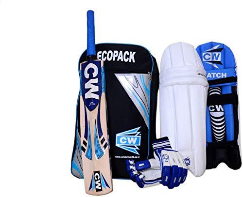 CW Smasher Cricket Set for Right & Lefty Boys Youth Kids Blue Glove + Duffel Kit + Legguard + Kashmir Willow Bat (4 (8-9 Yr) Boys, left)...