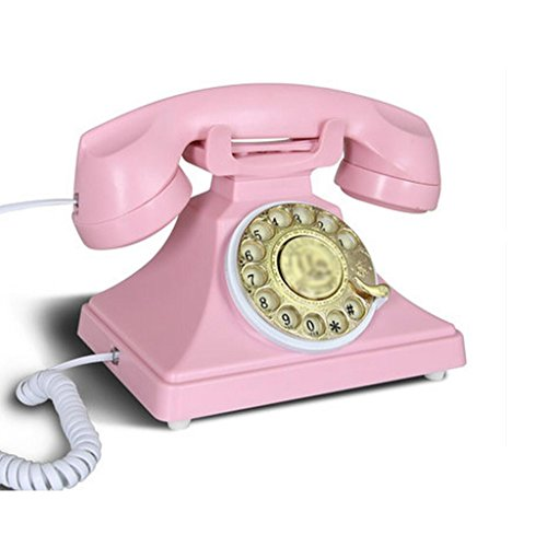 Liu Yu·kreative Heimat, kreative rosa ABS Metall Hause Wohnzimmer Dekoration Freisprecheinrichtung rotierenden Dial-up-Retro-Telefon