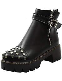 Artfaerie Damen Nieten Stiefeletten Blockabsatz mit Reißverschluss und  Schnalle Plateau Ankle Boots Punk Stiefel Kurzschaft Schuhe cd79401505