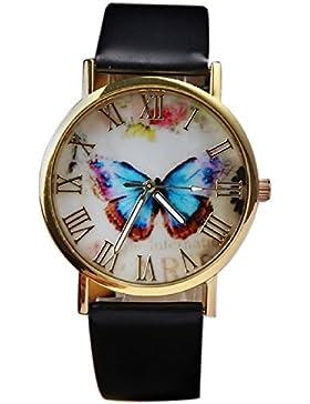 SAMGU Damen mode Butterfly Style-Leder-Band-Analog-Quarz-Armbanduhr Watch