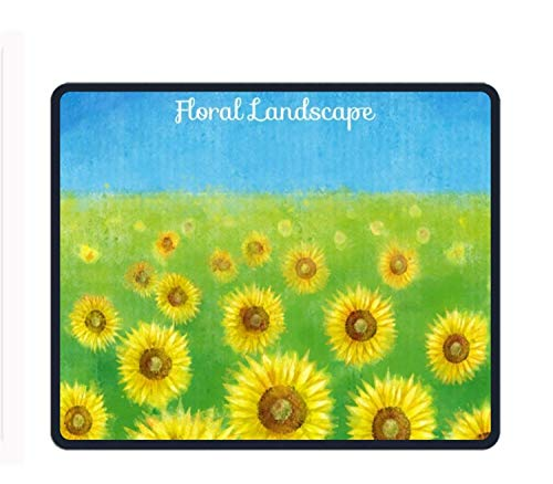 Mouse Pad - Hand Painted Sunflowers Landscape Background - Ultra Thin Polycarbonate Professional-Grade Gaming Mouse Mat - Non-Slip Adhesive Base -