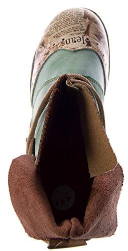 Damen Comfort Leder Stiefeletten TMA 5161 Boots Schwarz Grün Braun Weiß Rot Knöchel Schuhe Stiefel Grün