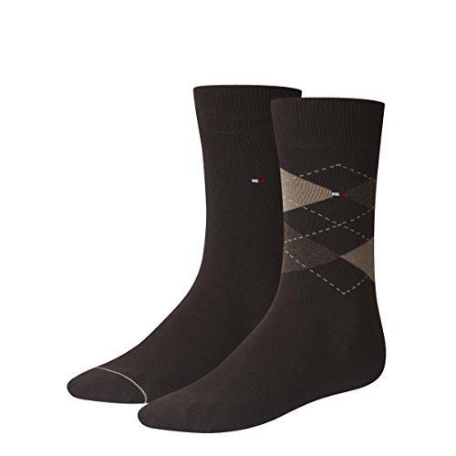 4 pairs TOMMY HILFIGER Men's Check Socks Gr. 39 - 46 Business sneaker socks, Farben:937 - kensington brown;Größe Bekleidung:M