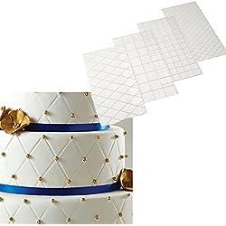 ODN 4tlg Prägematte Strukturmatte für Tortendeko 3D Spitze Effekt Fondant Klassisch Muster,Gittermuster