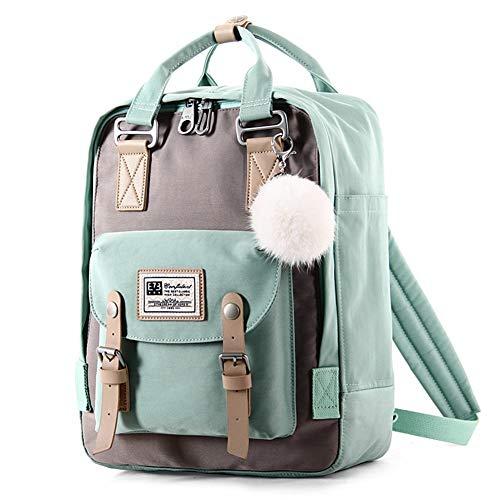 Neuer Nylonrucksack Campus Junior High School Kleine Studententasche Einfacher Multifunktions (Farbe : Grün, Größe : 26.5cm*12.5cm*36.5cm)