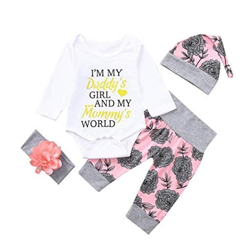 (ZHRUI Outfits Infant Baby Mädchen Brief Drucken Strampler Tops und Floral Bedruckte Lange Hosen Stirnbänder Cap 4 STÜCKE Baumwolle Mode Patchwork Nette Outfits Kleidung Sets)